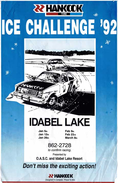 The Hankook Tire Ice Racing Challenge promotional poster from 1992