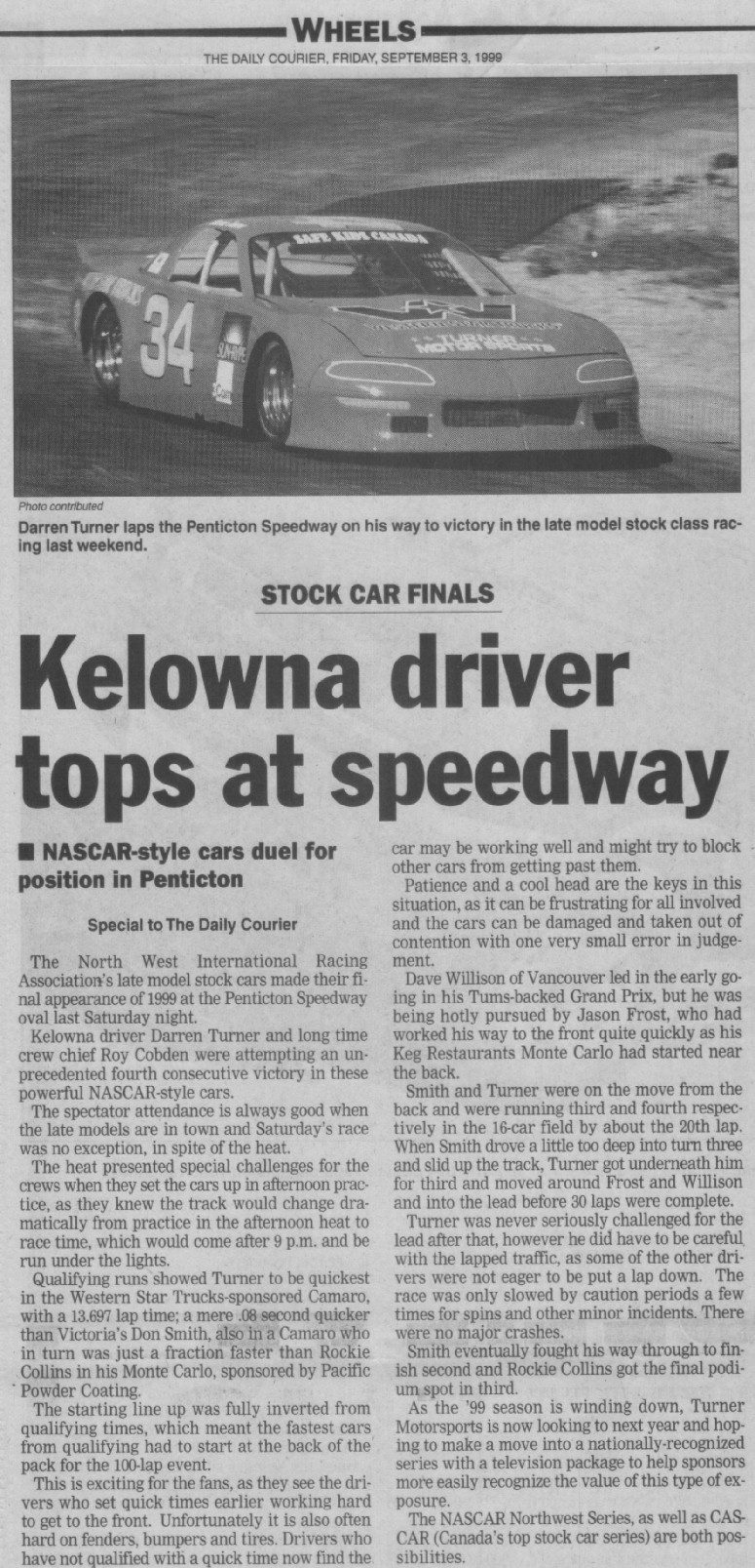 Darren Turner newspaper report of the race